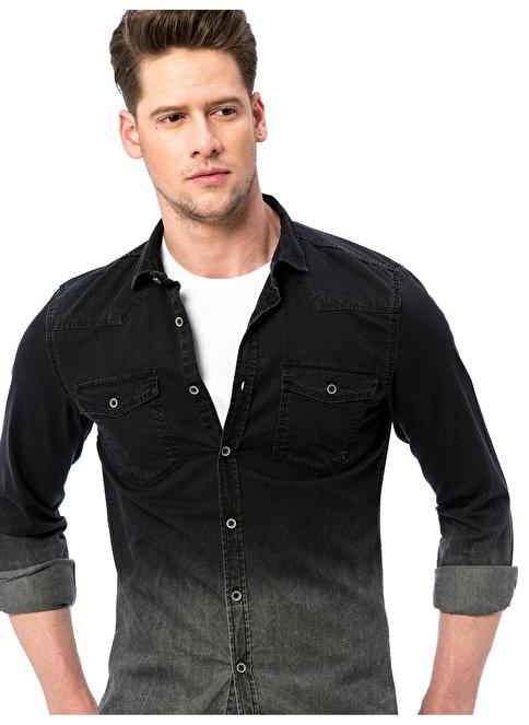 LC Waikiki Jean Uzun Kollu Gömlek Siyah